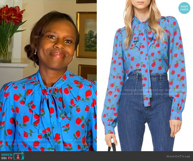 Tie-Neck Scattered Rose-Print Blouse by Michael Kors Collection worn by Deborah Roberts  on Good Morning America