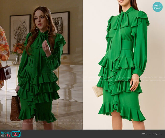 Ruffled Silk-Georgette Tie-Neck Midi Dress by Michael Kors Collection worn by Fallon Carrington (Elizabeth Gillies) on Dynasty