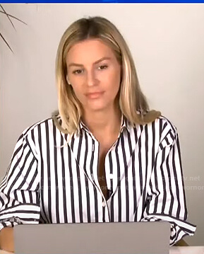 Morgan's white and blue striped shirt on E! News Daily Pop