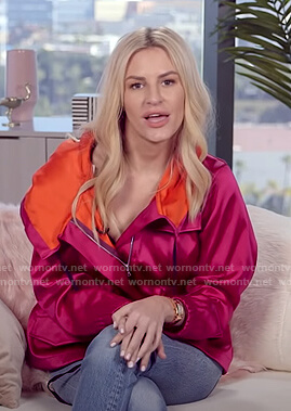 Morgan's pink zip front jacket on E! News Daily Pop