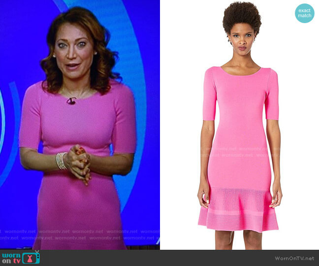 1/4 Sleeve Drop Hem Dress by Boutique Moschino worn by Ginger Zee  on Good Morning America