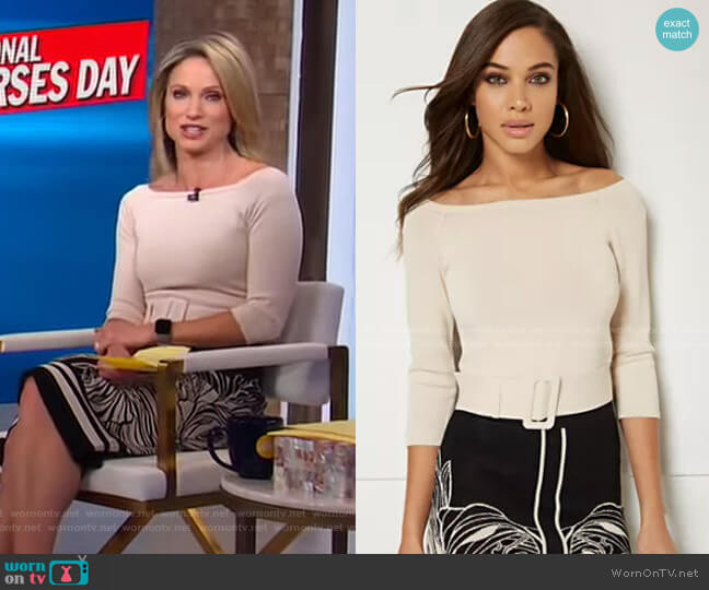 Aurora Sweater - Eva Mendes Collection by New York & Company worn by Amy Robach  on Good Morning America