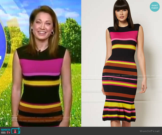 Diana Sweater Dress - Eva Mendes Collection by New York & Company worn by Ginger Zee  on Good Morning America