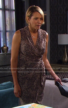 Nicole's beige leopard print wrap dress on Days of our Lives