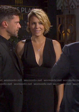 Nicole's black crisscross back dress on Days of our Lives