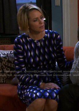 Nicole's blue geometric print dress on Days of our Lives
