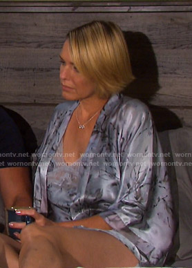 Nicole's grey print satin robe and chemise on Days of our Lives