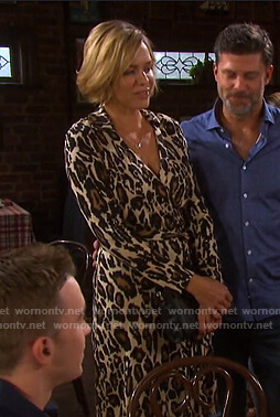 Nicole's leopard print wrap dress on Days of our Lives