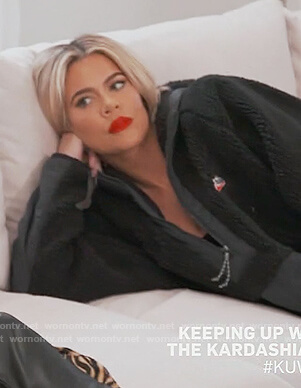 Khloe's black Nike fleece jacket on Keeping Up with the Kardashians