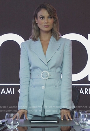 Noa's light blue belted blazer on The Baker and the Beauty