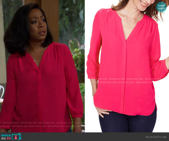 Pleated Blouse by NYDJ worn by Tina (Tichina Arnold) on The Neighborhood