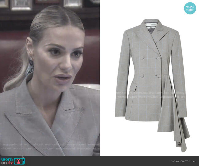 Asymmetric Checked Cotton Blazer by Off-White  worn by Dorit Kemsley  on The Real Housewives of Beverly Hills