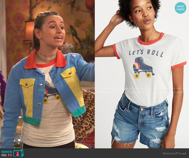Graphic Ringer Tee by Old Navy worn by Tess O'Malley (Sky Katz) on Ravens Home