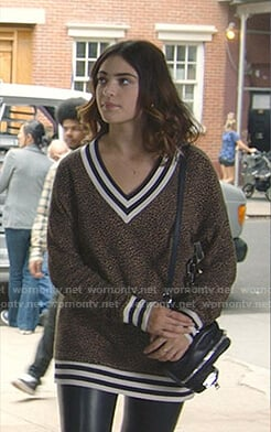 Olive's leopard print varsity sweater on Manifest