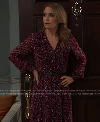 Olivia's black floral belted dress on General Hospital