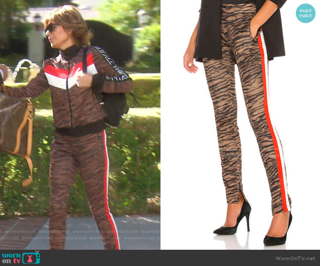 Tiger Cigarette Track Pant by Pam & Gela worn by Lisa Rinna  on The Real Housewives of Beverly Hills
