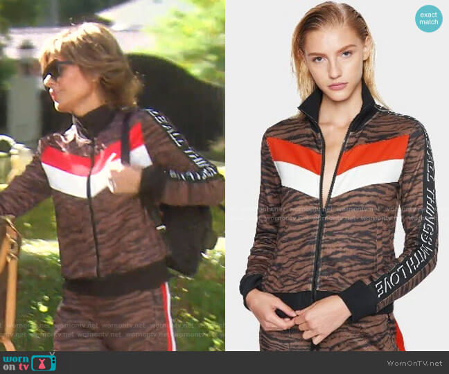 Tiger Colorblock Track Jacket by Pam & Gela worn by Lisa Rinna  on The Real Housewives of Beverly Hills