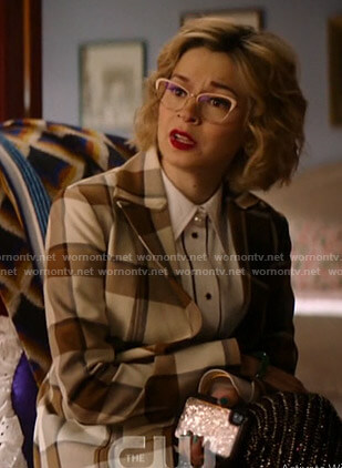 Pepper's brown check blazer on Katy Keene