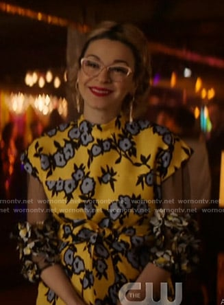 Pepper's yellow floral gown on Katy Keene