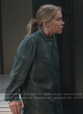 Jen's green plaid blouse on Dead to Me