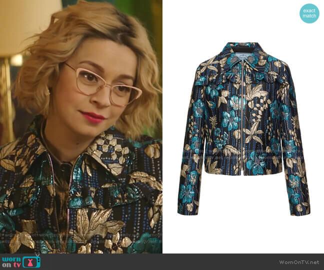 Ruffled Floral Brocade Jacket by Prada  worn by Pepper Smith (Julia Chan) on Katy Keene