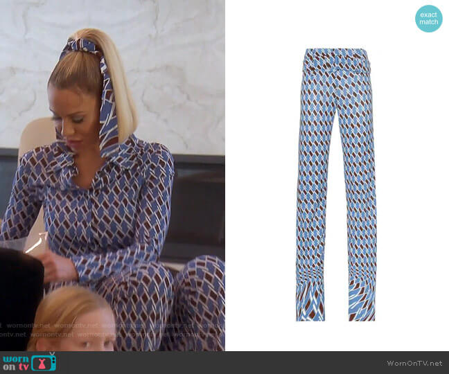 Psychedelic Argyle Print Belted Trousers by Prada worn by Dorit Kemsley  on The Real Housewives of Beverly Hills