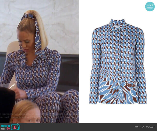 Geometric Print Shirt by Prada worn by Dorit Kemsley  on The Real Housewives of Beverly Hills