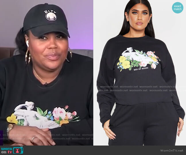 Plus Bed of Roses Slogan Sweater by Pretty Little Thing worn by Nina Parker  on E! News