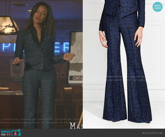 Lorette Snake Printed Flared Pants by Rachel Zoe worn by Maria DeLuca (Heather Hemmens) on Roswell New Mexico