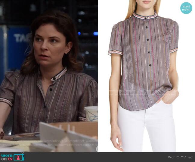 Austin Stripe Silk Shirt by Rag & Bone worn by Taylor Rentzel (MacKenzie Meehan) on Bull
