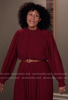 Rainbow's burgundy pleated dress on Black-ish