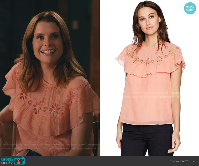 Short Sleeve Pinwheel Top by Rebecca Taylor worn by Maddie Townsend (JoAnna Garcia Swisher) on Sweet Magnolias