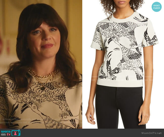 Phoenix Jacquard Sweater by RED Valentino worn by Casey Wilson on Katy Keene