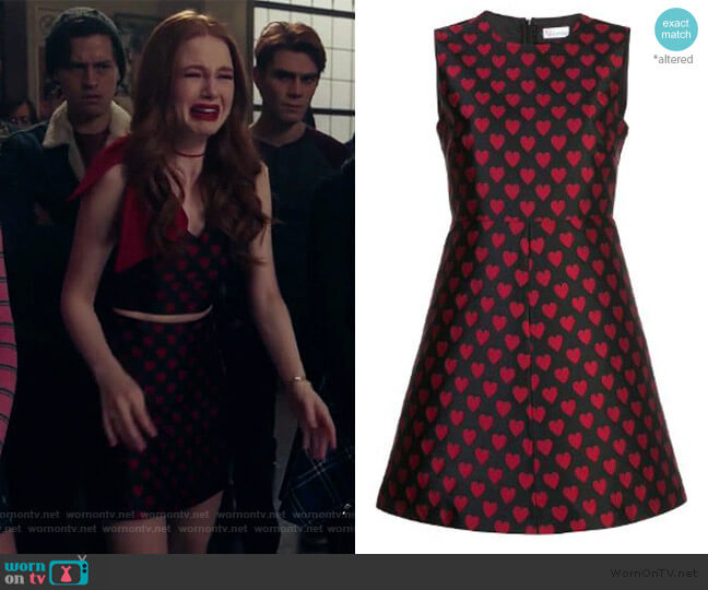 Heart Embroidered Skater Dress by RED Valentino worn by Cheryl Blossom (Madelaine Petsch) on Riverdale