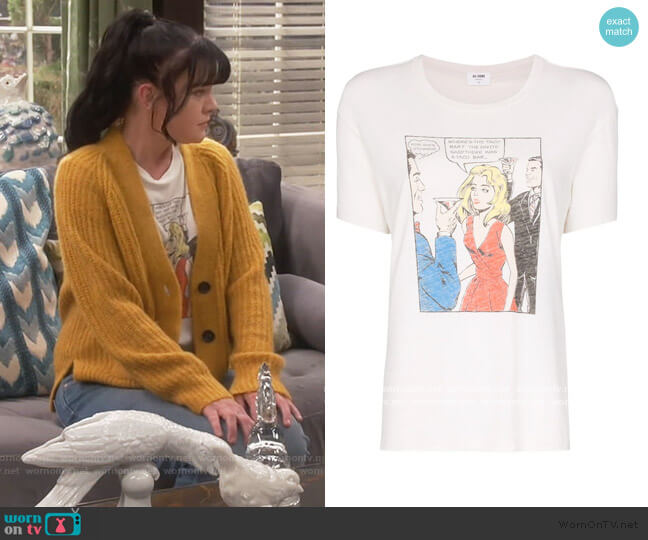 Taco Bar graphic print T-shirt by Re/done worn by Jackie (Pauley Perrette) on Broke