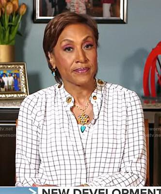 Robin's white grid check blouse on Good Morning America
