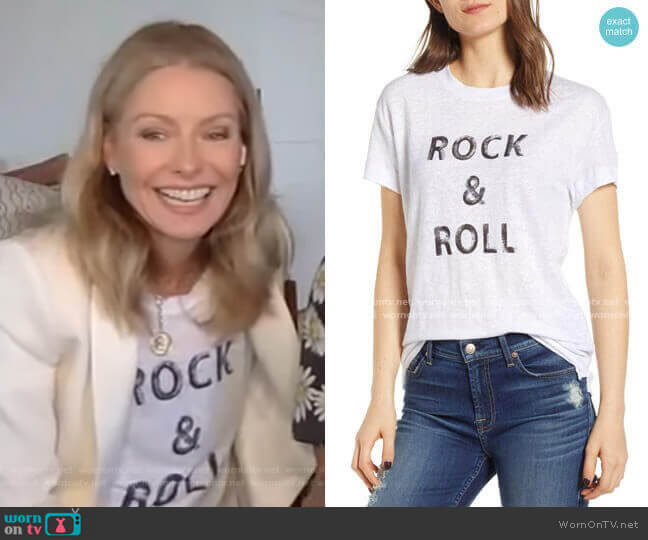 Rock & Roll Graphic Linen Tee by Zadig & Voltaire worn by Kelly Ripa  on Live with Kelly & Ryan