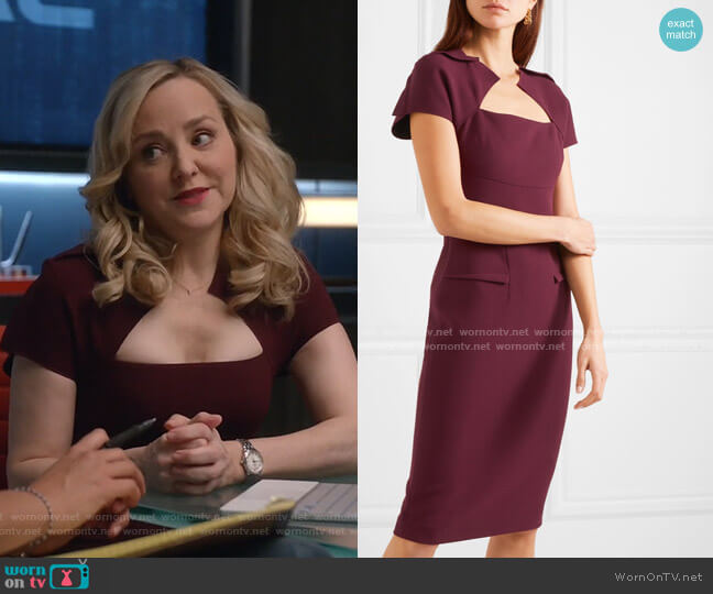 Wool-Crepe Dress by Roland Mouret worn by Marissa Morgan (Geneva Carr) on Bull