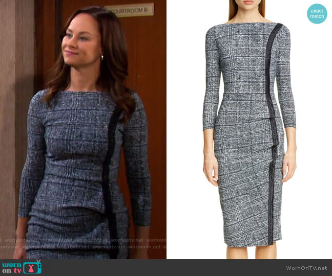 Rosmarijn Checked Dress by Chiara Boni La Petite Robe Worn by Alyshia Ochse on Days of our Lives