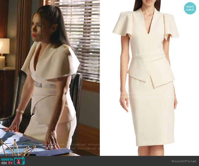 Mirana Heavy Crepe Peplum Dress by Safiyaa worn by Cristal Jennings (Daniella Alonso) on Dynasty