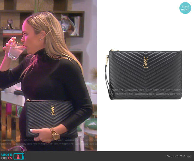 Monogram Leather Pouch by Saint Laurent worn by Teddi Mellencamp Arroyave  on The Real Housewives of Beverly Hills
