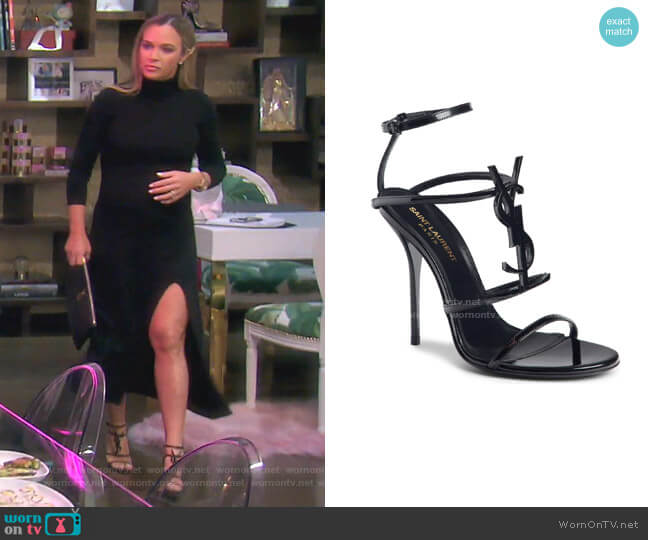 Cassandra YSL Strappy Sandal by Saint Laurent worn by Teddi Mellencamp Arroyave  on The Real Housewives of Beverly Hills