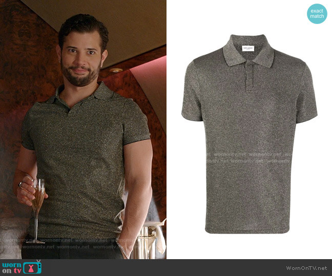 Metallic Polo Shirt by Saint Laurent worn by Sam Flores (Rafael de la Fuente) on Dynasty
