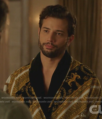 Sam's baroque print robe on Dynasty
