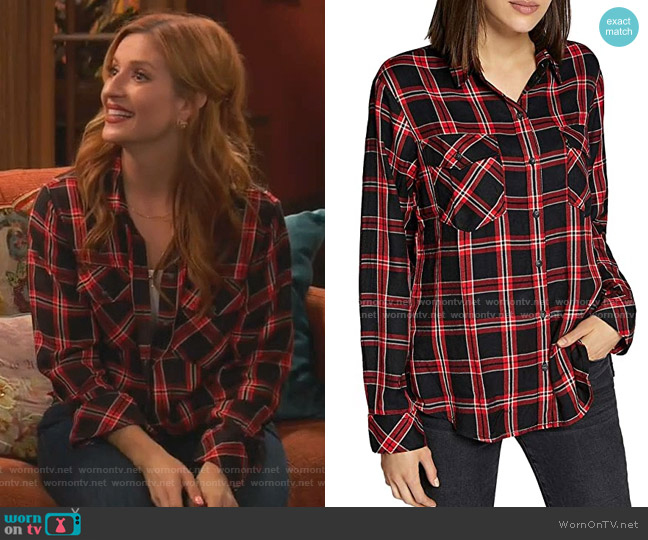 Boyfriend for Life Plaid Long Sleeves Button-Down Top by Sanctuary worn by Chelsea Grayson (Anneliese van der Pol) on Ravens Home
