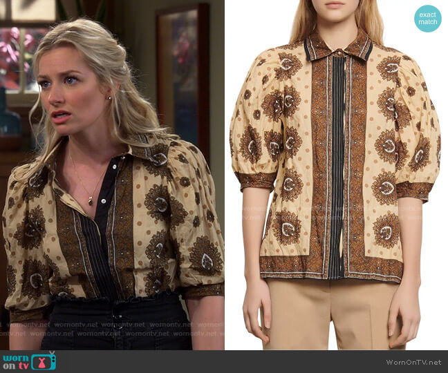 Sahari Printed Shirt by Sandro worn by Gemma (Beth Behrs) on The Neighborhood