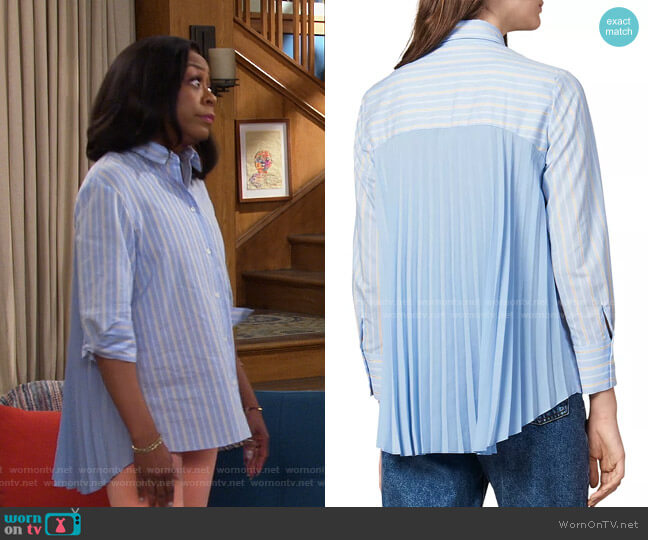 Sielle Pleated-Back Striped Shirt by Sandro worn by Tina (Tichina Arnold) on The Neighborhood
