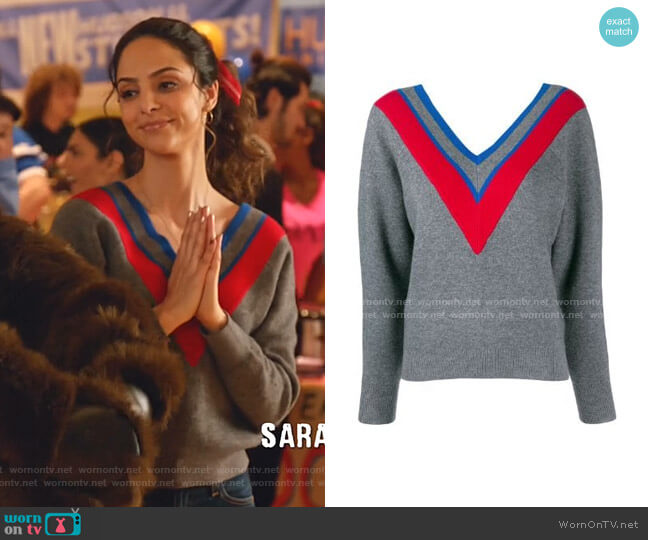 Stripe Detail V-neck Jumper by Sandro worn by Zari Tomaz (Tala Ashe) on Legends of Tomorrow