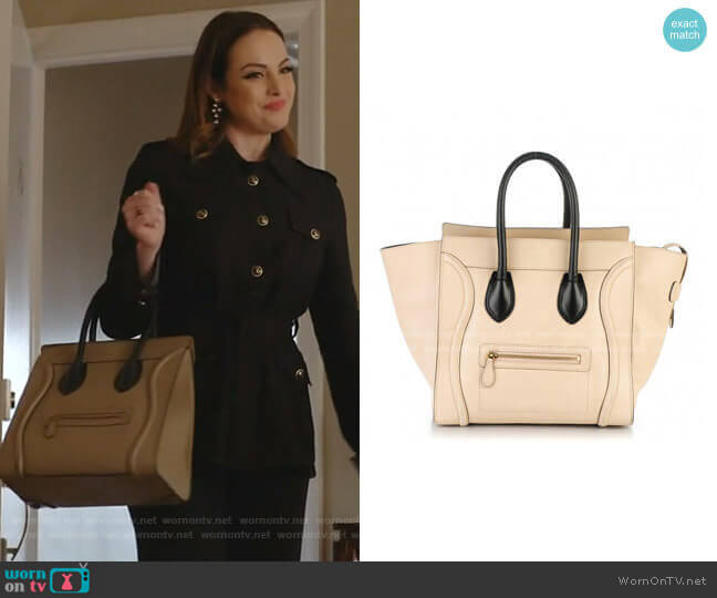 Satin Calfskin Mini Luggage by Celine worn by Fallon Carrington (Elizabeth Gillies) on Dynasty