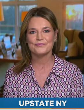 Savannah's pink geometric print blouse on Today
